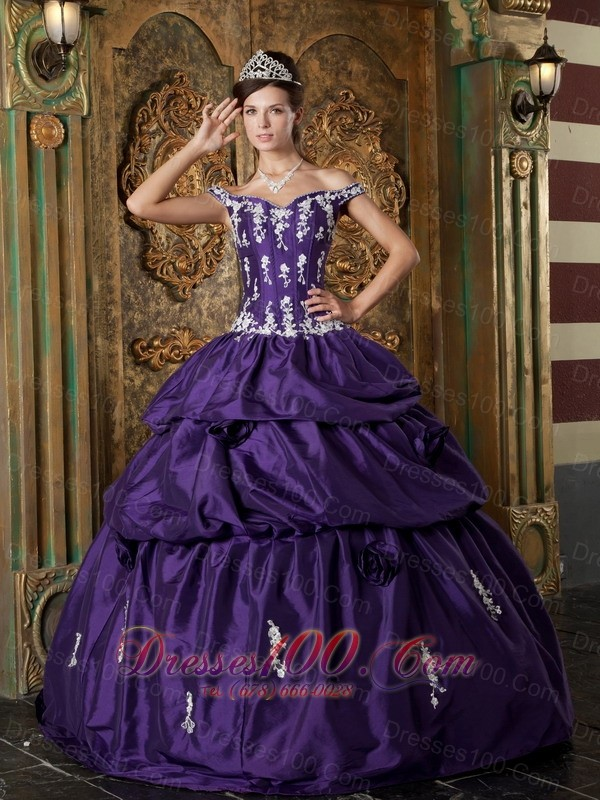 Purple Quinceanera Dress Off The Shoulder Appliques