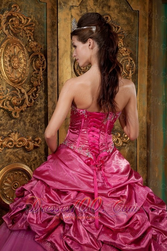 Hot Pink Sweetheart Appliques Quinceanera Dress