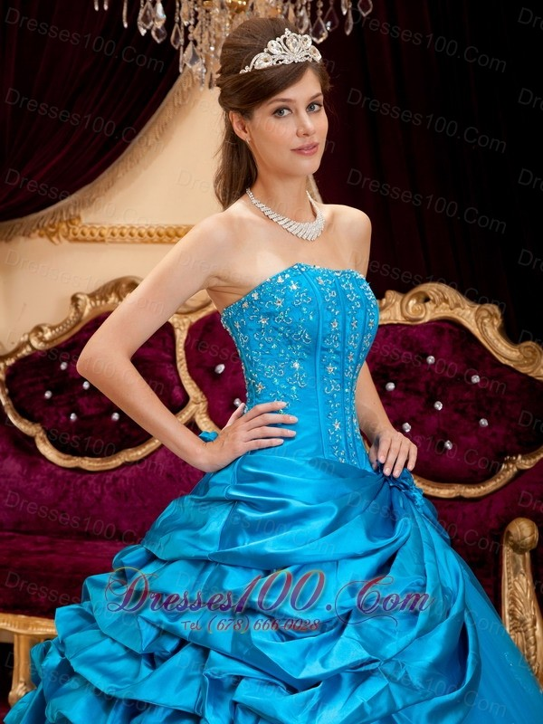 Teal Appliques Strapless Floor-length Quinceanera Dress
