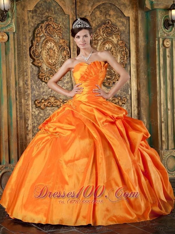 Spring Orange Sweetheart Appliques Quinceanera Dress