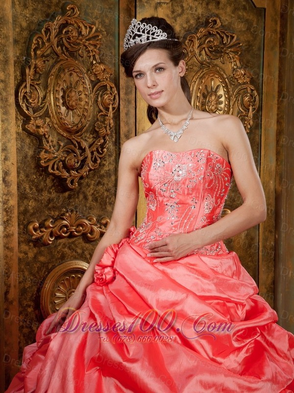 Watermelon Quinceanera Dress Beading Ruffles Floor-length