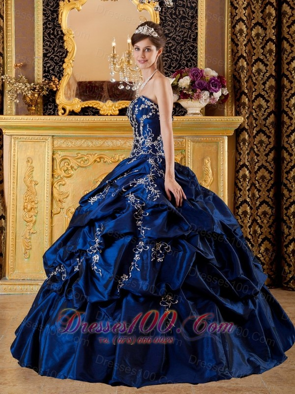 Navy Blue Sweetheart Appliques Floor-length Quinceanera Dress