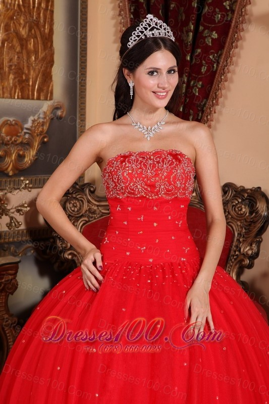 Red Beading Strapless Floor-length Sweet 16 Dress Designer