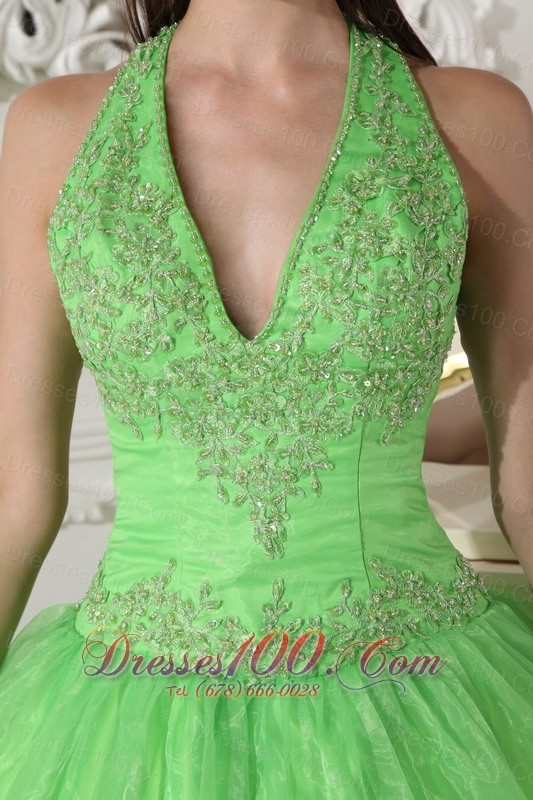 Spring Green Taffeta Organza Halter Sweet 16 Dress