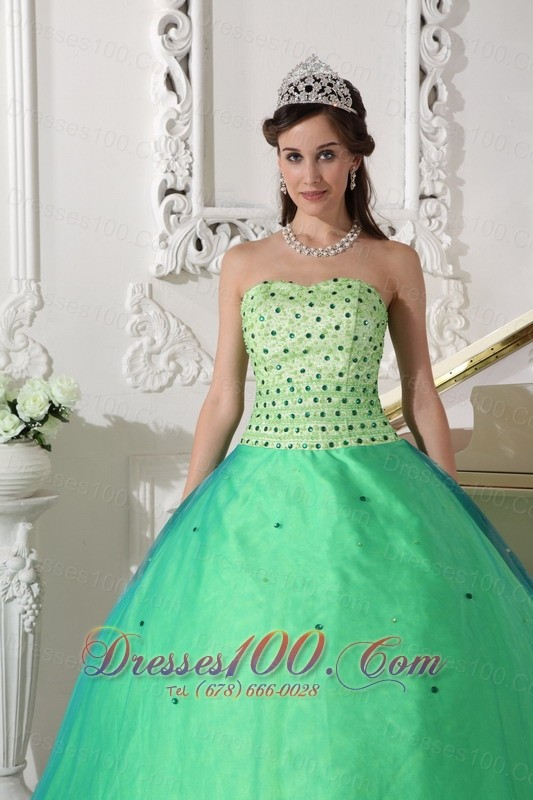 Spring Green Quinceanera Dress Floor-length Beading
