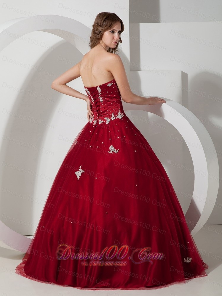 Wine Red Strapless Quinceanea Dress Satin Tulle Appliques