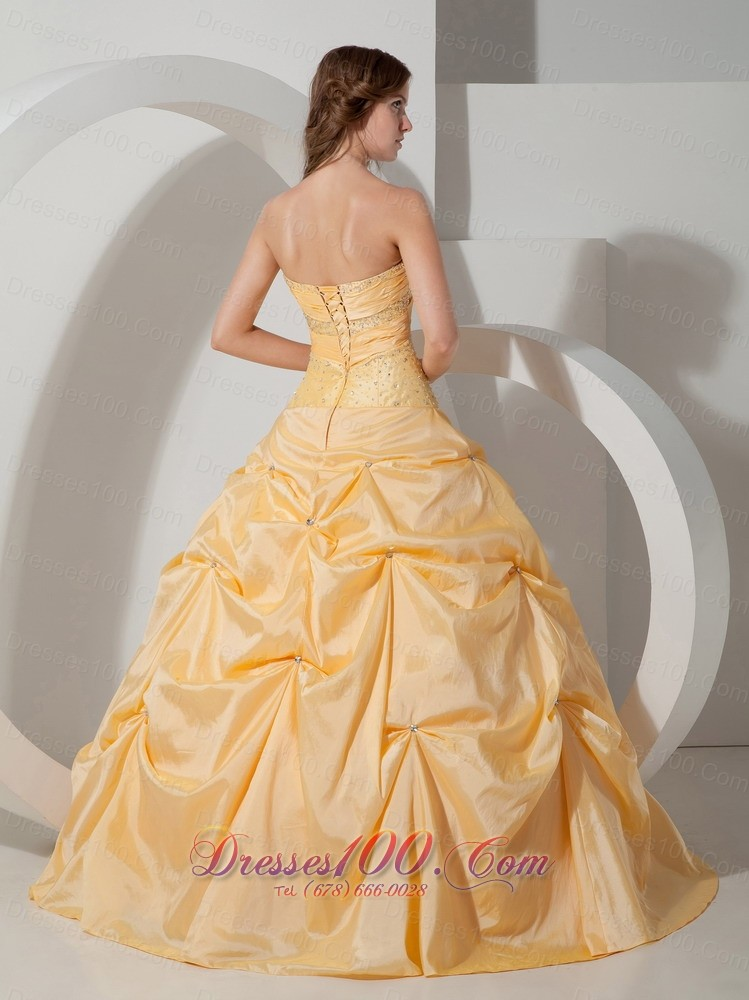 Yellow Sweetheart Floor-length Pick-ups Quinceanea Dress