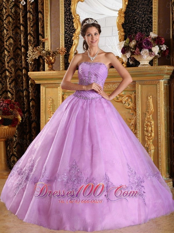 Lilac Quinceanera Dress Strapless Appliques Strapless