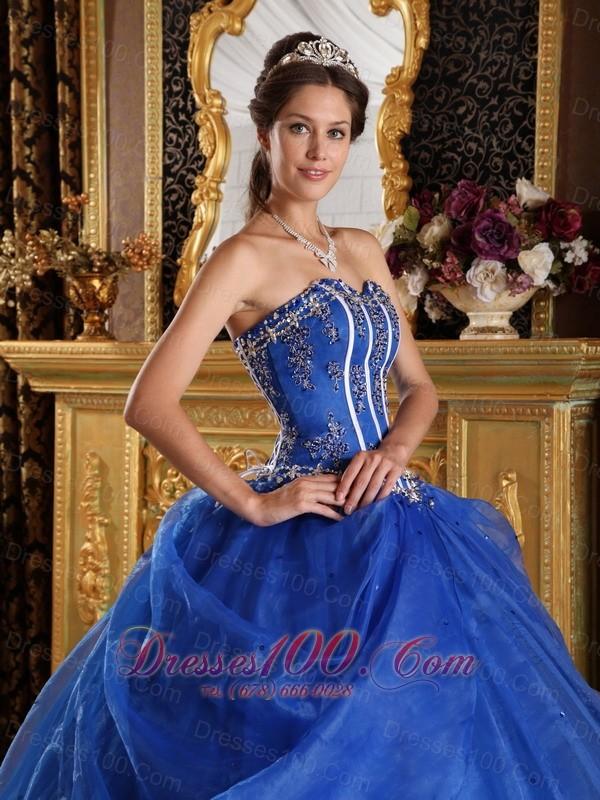 Royal Blue Quinceanera Dress Sweetheart Floor-length Appliques