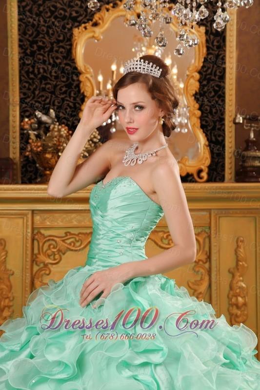 Apple Green Sweetheart Floor-length Quinceanera Dress Ruffles