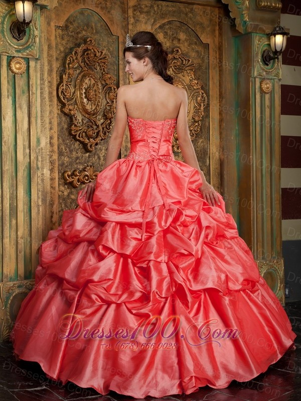 2013 Watermelon Quinceanera Dress Appliques Ball Gown