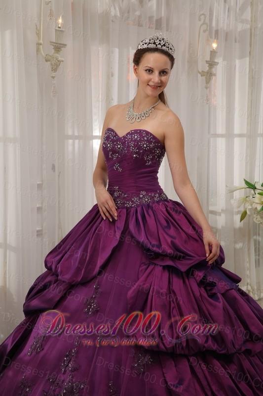 Eggplant Purple Quinceanera Dress Appliques Beading Court Train