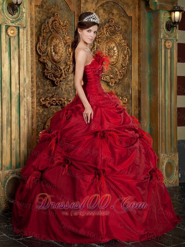Red Quinceanera Dress Beading Hand Flowers Strapless
