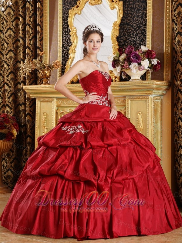 Wine Red Quinceanera Dress Strapless Floor-length Appliques