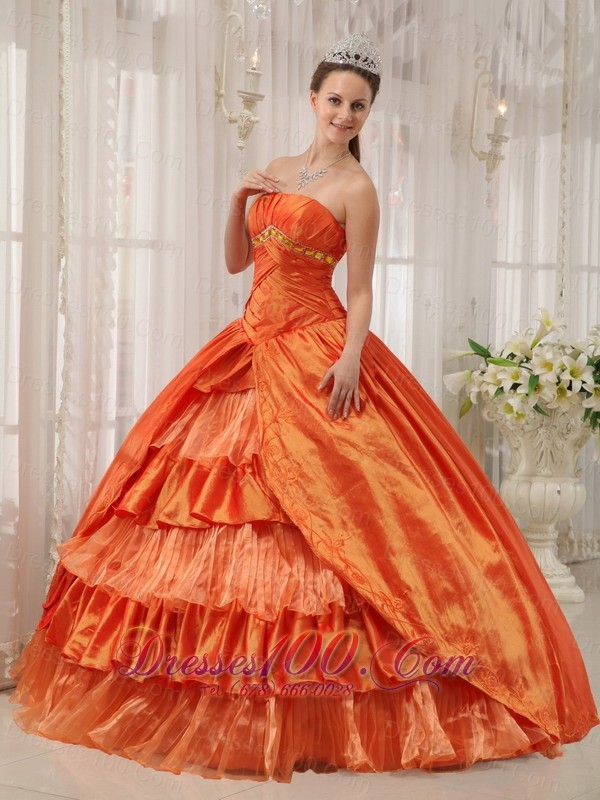 Orange Quinceanera Dress Strapless Beading Ruffles Floor-length