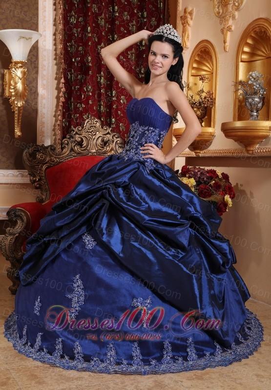 Navy Blue Quinceanera Dress Appliques Sweetheart Floor-length