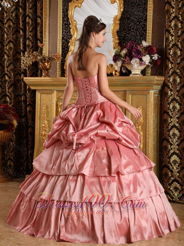Watermelon Red Quinceanera Dress Appliques Bead Strapless