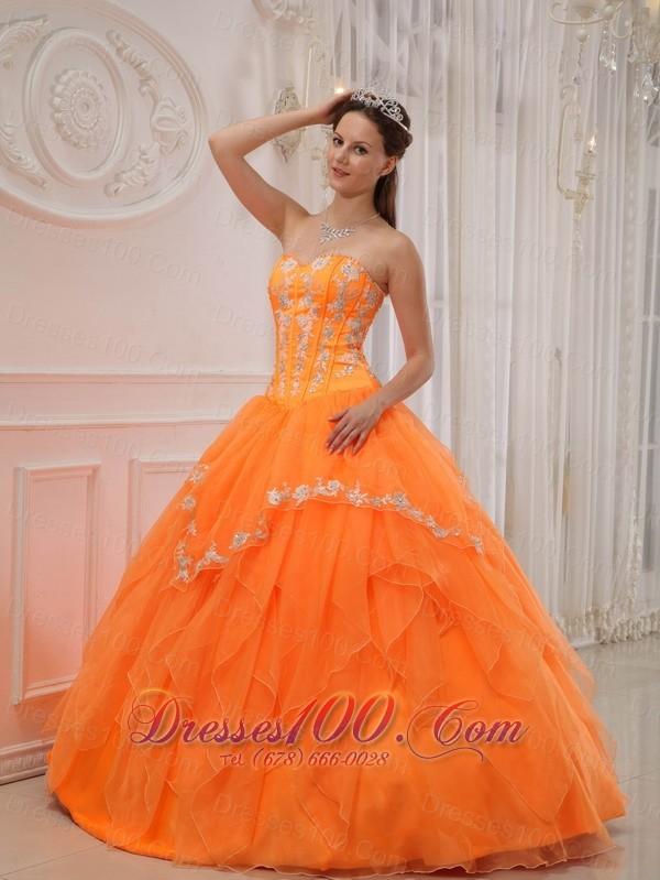 Orange Quinceanera Dress Under 200 Appliques Beading