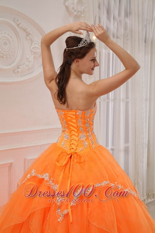 Orange Quinceanera Dress Under 200 Appliques Beading