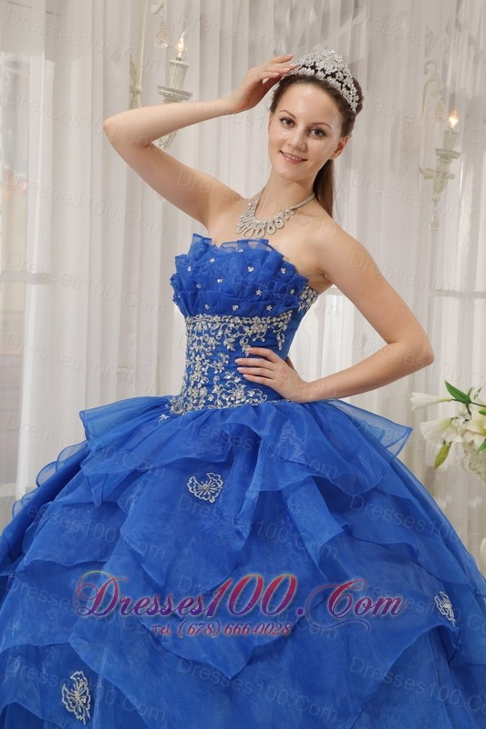 Royal Blue Quinceanera Dress Appliques Beading Organza