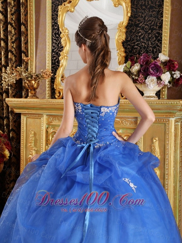 Blue Quinceanera Dress Appliques Sweetheart