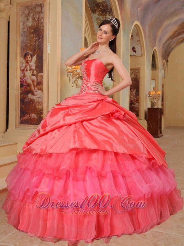One Shoulder Coral Red Quinceanera Dress Ruffles
