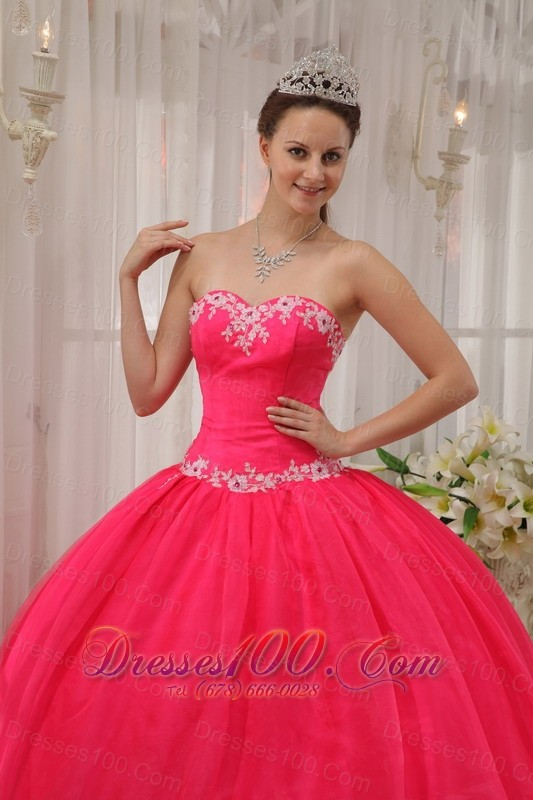 Coral Red Quinceanera DressAppliques Sweetheart