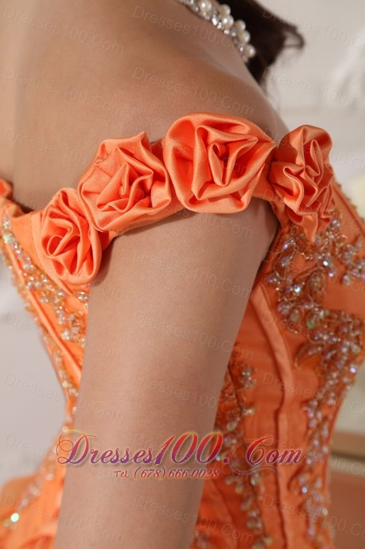 Off Shoulder Orange Quinceanera Dress Appliques Hand Flowers