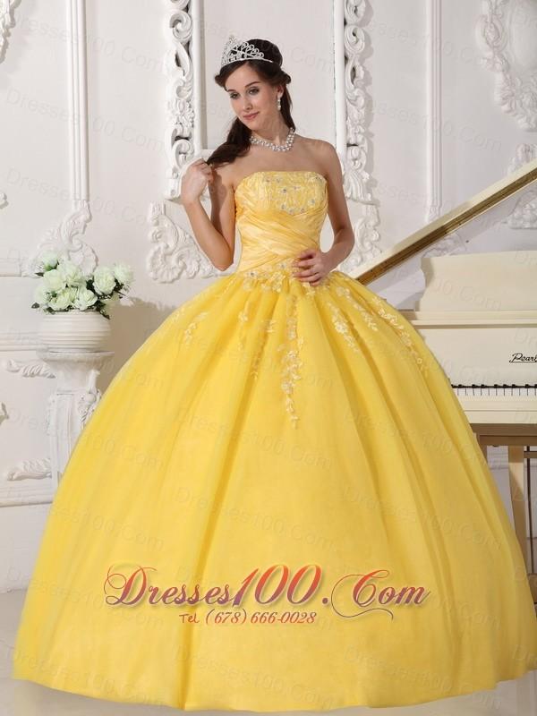 Yellow Appliques Floor-length Quinceanera Dress