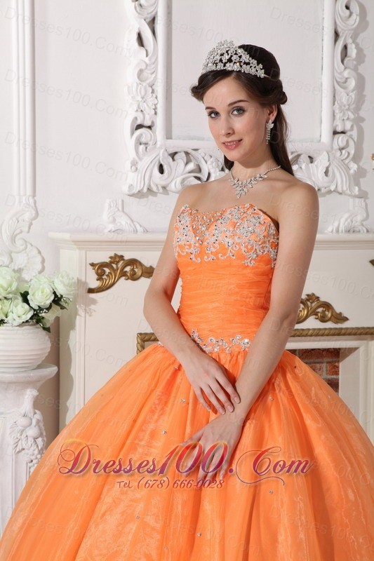 Orange Quinceanera Dress Floor-length Appliques