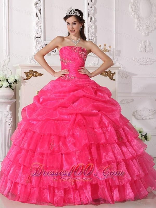 Hot Pink Quinceanera Dress Appliques Floor-length