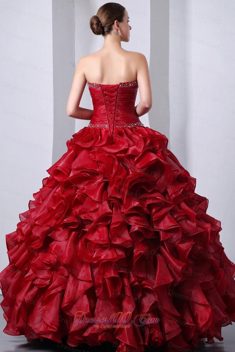Wine Red Sweet16 Dress Beading Ruffles A-Line Sweetheart