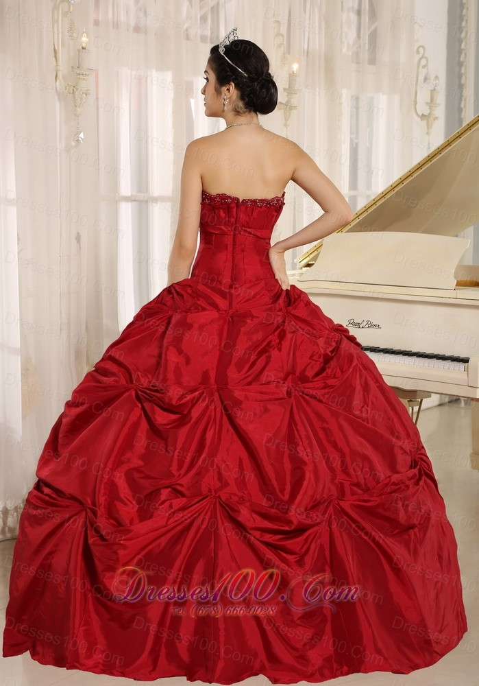 Wine Red Under 200 Quinceanera Dress Strapless Floor-length