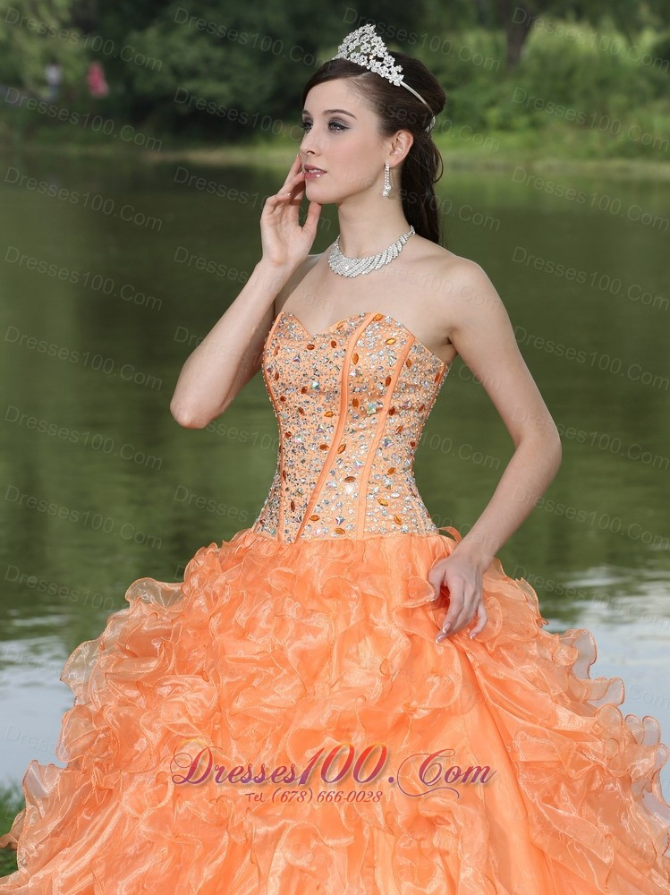 Orange Quinceanera Dress Ruffles Layered Sweetheart