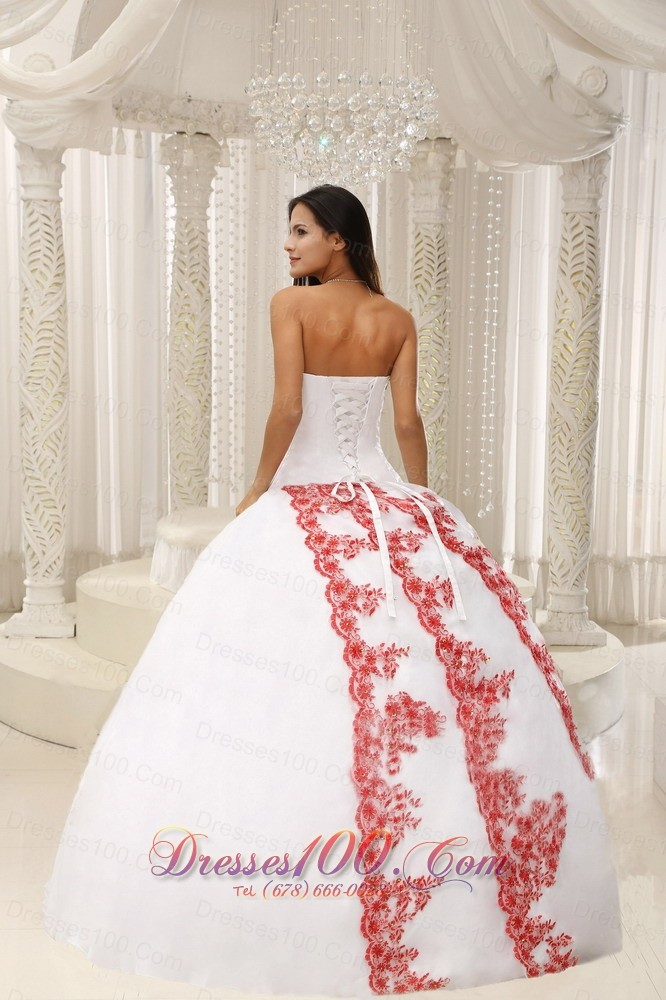 Red Embroidery White Floor-length 2013 Quinceanera Dress