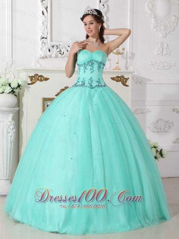 Apple Green Quinceanera Dress Under 200 Beading Floor-length |Most ...