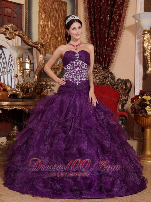 Purple Quinceanera Dress Beading Organza Sweetheart