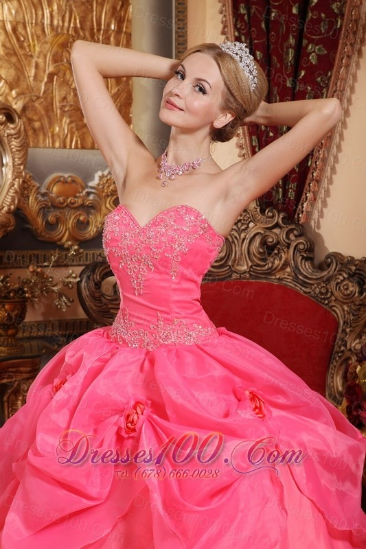 Appliques Coral Red Quinceanera Dress Sweetheart