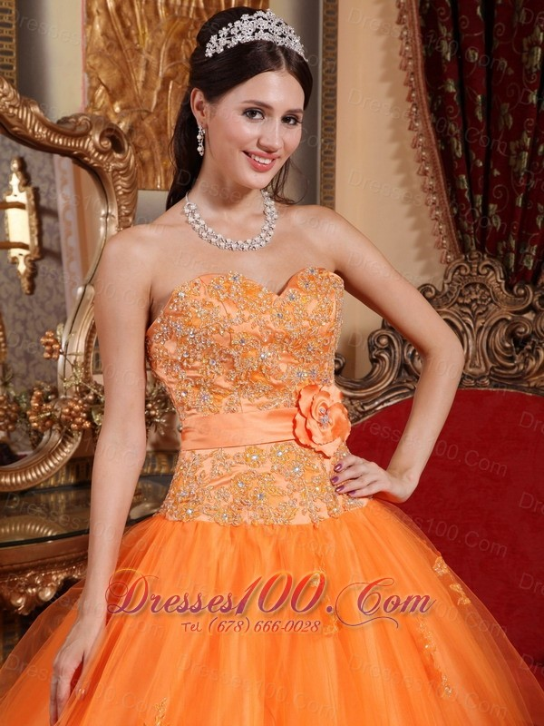 Orange Tulle Quinceanera Dress Appliques Sash