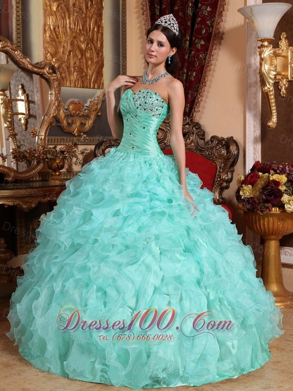 Apple Green Quinceanera Dress Beading Ruffles Sweetheart