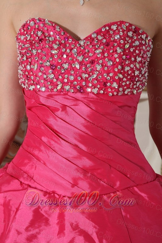 Discount Hot Pink Quinceanera Dress Beading Ruch