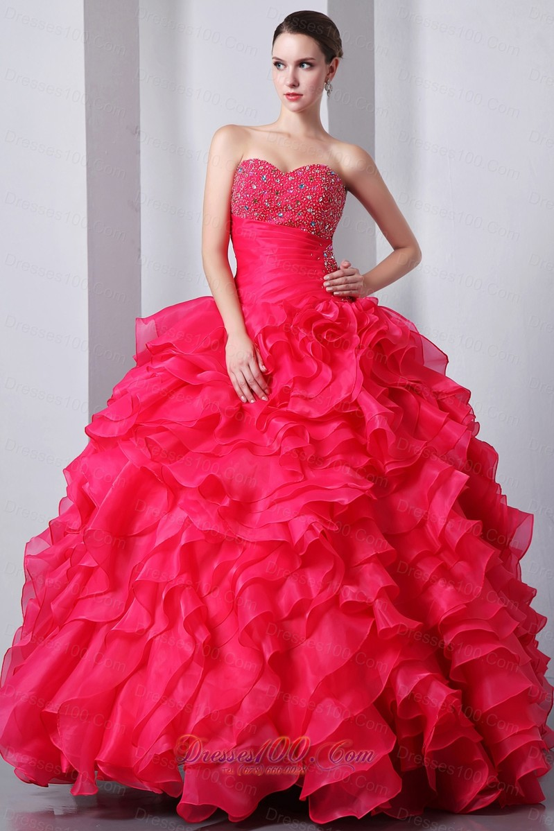 Dresses coral red ruffles beading quinceanea dress a line sweetheart