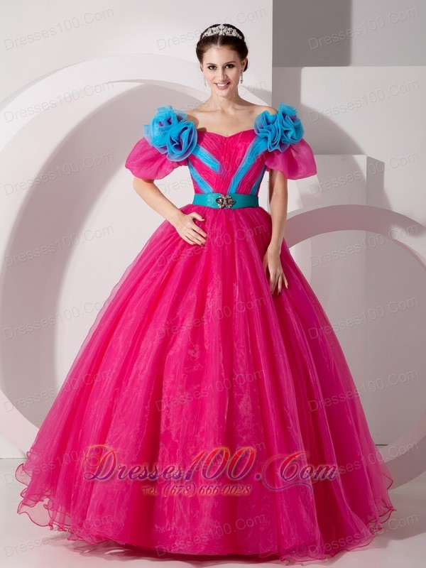 Unique Hot Pink Off the Shoulder Quincenera Dress