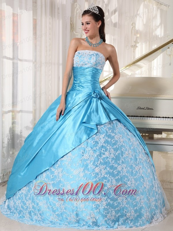 2013 Aque Blue and Flower Print Quinceanera Dress