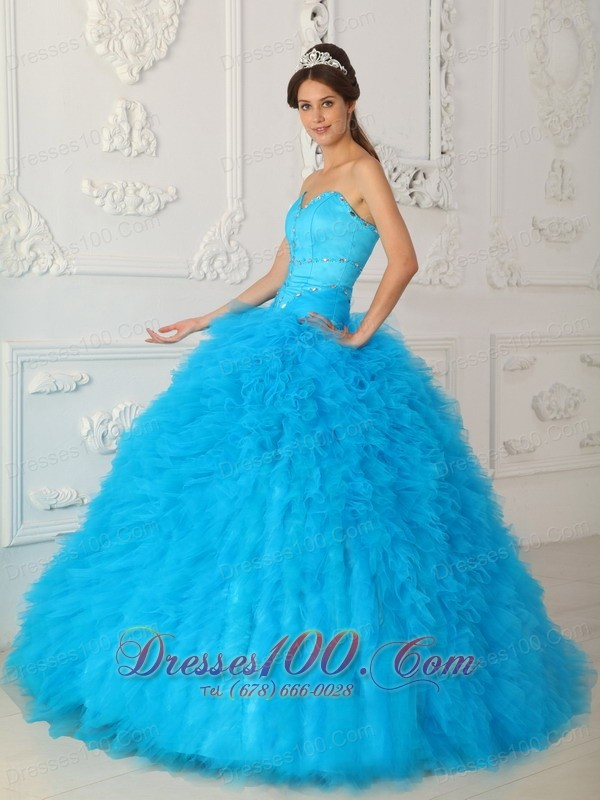 Blue Lovely Sweetheart Ball Gown Dress for Quince