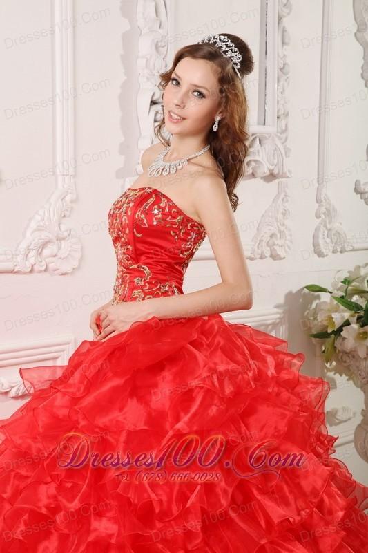 Informal Red Quinceanera Dress Organza Ruffles