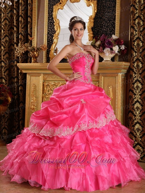 Pretty Hot Pink Ruffles Beading Sweet 16 Dresses 2013 ...