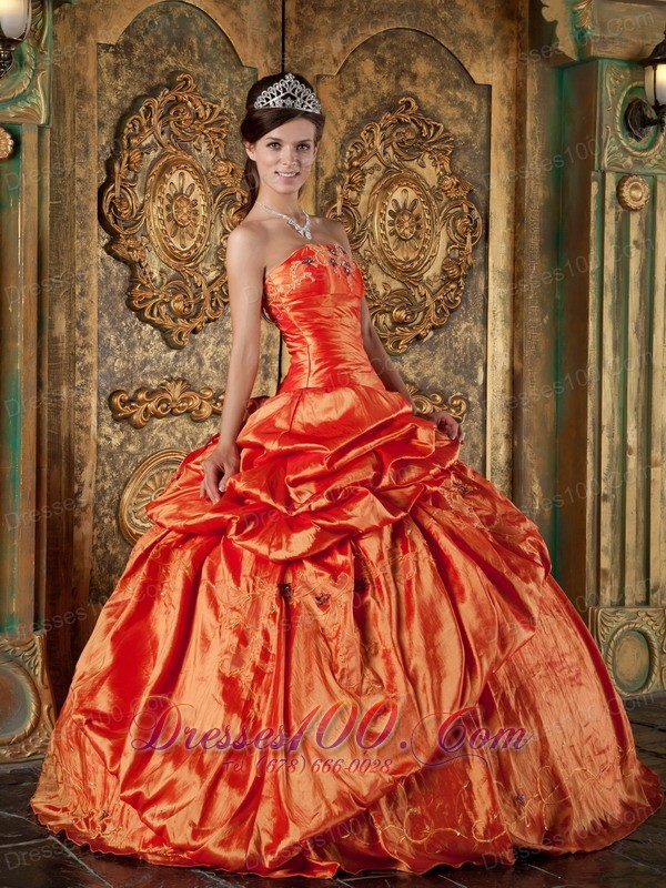 2011 Orange Pick-ups Strapless Ball Gown Quince Dress