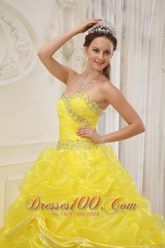 Yellow Beading and Ruched Dresses for a Quince