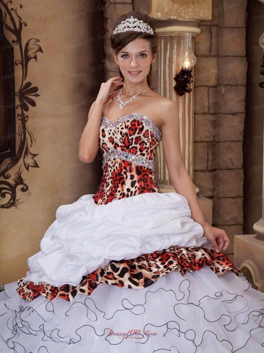 Leopard Print Beading Sweetheart Sweet 16 Dresses